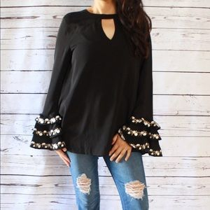 Floral Embroidered Bell Sleeve Top w/ Keyhole